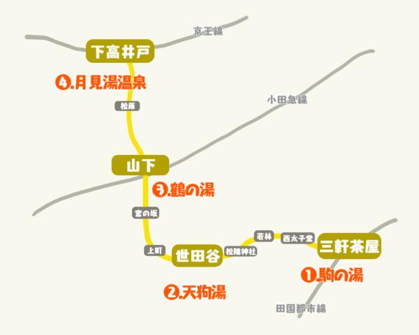 世田谷線MAP_世田谷線の銭湯